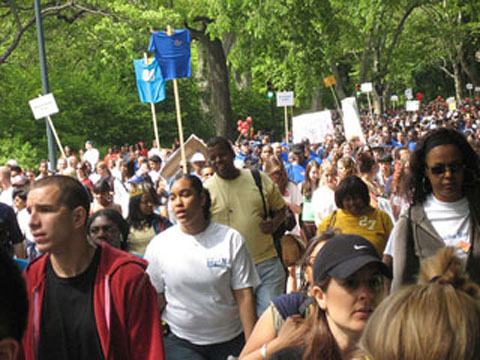 The AIDS Walk in New York is one way local non-profits raise money to fight AIDS and help those who are living with it. photo by Claire H. Unfourth
