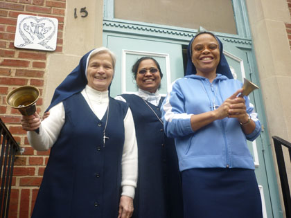 Sisters Catherine Eugene, Salomy Thomas, and Leonie Therese of The Franciscan Handmaids Convent in Harlem. (Photo By Amanda Van Allen)