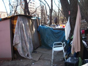 Maysonet's home, made of wood, tarp and blankets. (Photo by Darren Tobia)