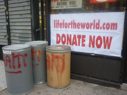 Digital Media on Nostrand Avenue in Brooklyn, is collecting donations for Haiti's earthquake victims. (photo by Amanda Van Allen)
