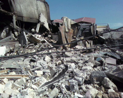 The remains of the Deslouches' house in Port  au Prince, Haiti.