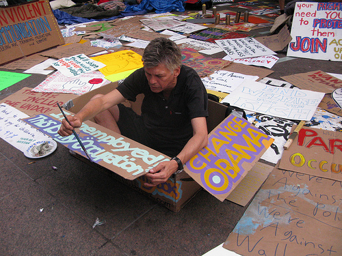Unemployed, homeless and protesting  with Occupy Wall Street