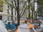 Nearly 100 tents have been set up on the western plaza outside Philadelphia's City Hall, as part of the Occupy Philly movement. Photo by Chris Palmer