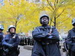 NYPD occupied Zuccotti Park this morning, refusing to allow protestors to re-enter after they were evicted by police last night. Photo by Chris Palmer