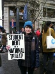 Ally Freeman, a student from the New School, attended the OWS student rally today in Union Square. She took out student loans for her education and worries about student debt affecting people her age.  Photo by Nicole Guzzardi