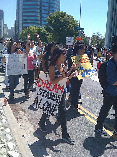Members of DreamActivist.org and other supporters of the DREAM Act shut down Wilshire Blvd. in Los Angeles, Calif. during a demonstration in May, 2010. Photo Courtesy of DreamActivist.org.