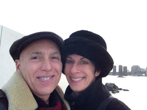 """Mary Hickey, 65, and her boyfriend Joe pose for a photo on Roosevelt Island about a month and a half ago. Hickey met Joe at a walking tour of the Flatiron District last spring—an event she organized on Meetup.com. Photo courtesy of Mary Hickey."