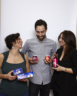 Elizabeth Alpern (left), Jeffrey Yoskowitz (center) and Jacqueline Lilinshtein (right) are the entrepreneurs behind The Gefilteria, a Brooklyn-based food startup. Reclaiming the food of their Ashkenazi Jewish roots, they have revived and modernized the concept of Gefilte fish, the classic though much maligned Jewish appetizer. With Passover coming up this Monday night, The Gefilteria is racing to keep up with gefilte fish orders. Photo by Circe Hamilton.