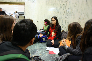 Maria Jaime, 21, co-coordinator of the Westchester chapter of the NYSYLC, addresses her team members before meeting with state legislatures regarding the NY DREAM Act. Photo by Daniella Silva.