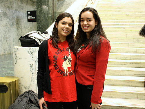 Angy Rivera (right) with fellow NYSYLC member Maria Jaime in Albany. Photo by Daniella Silva
