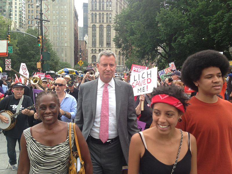 De Blasio with his wife, Chirlane (left) and children, Chiara and Dante