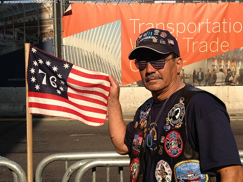 Jose Gonzalez, 61, near One World Trade Center. The retired first responder visits the site every year in memory of the victims of 9/11. Photo by Rajeev Dhir.