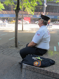 Retired fire captain of engine 226, Joe Loliscio, 57, sits in the plaza of Zuccotti Park. Photo by Zahra Ahmed