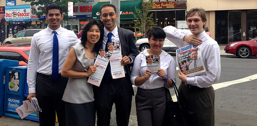 John Liu supporters Sajed Chowdhury, Ivan Khan, Paulina Baltazar and Sam Allen with John Liu's wife Jenny Liu, second to left, on primary day in Jackson Heights, Queens. (Photo Credit: Paulina Baltazar)