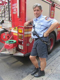 Capt. Anthony Catalanotto, 57, of engine 274, stands on Church Street in front of Ground Zero, where several hazmat trucks line the street as a safety precaution. (Zahra Ahmed)
