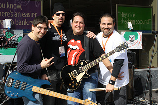 Bay Ridge rock band The Third Rail's band members Paul Daus, 42, Rob Delcastillo, 47, Matt Daus, 45, and Derek Rushton, 44.  Photo by Talia Avakian