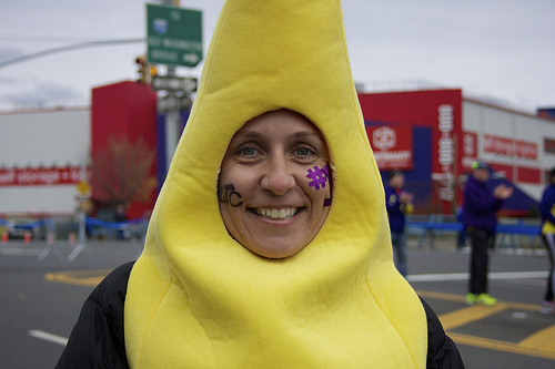 Laura Rodriguez, 34 from Bronx, ran the Boston marathon last year. This year she dressed up as a banana to support runners of the NYC Marathon. Photo by Lea