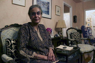 """I went to a school [in India] where there were a lot of English girls, and I never thought I wasn't as good as anybody,"""" said 70-year-old Azra Rezwi, a retired plastic surgeon from India now living in the Upper East Side, Manhattan. Photo by Zahra Ahmed."""