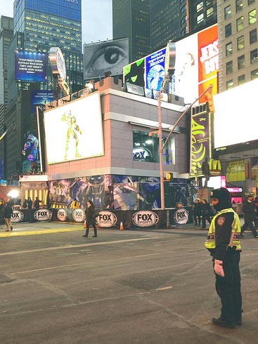 NYPD is in place at Times Square for Super Bowl week. By Zoe Lake