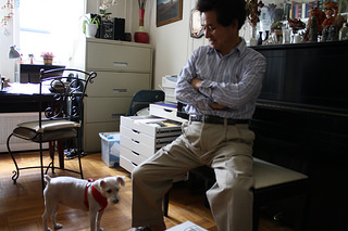 Byung Sun Soh, President of Save North Korean Refugees, with one of his dogs in his Manhattan apartment. Photo by Nidhi Prakash