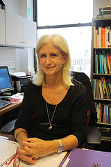 Dr. Christina Reuterskiold sits in her office at NYU where she leads studies on language development and disabilities in young children. Courtesey of Christina Reuterskiold for Zoe Lake