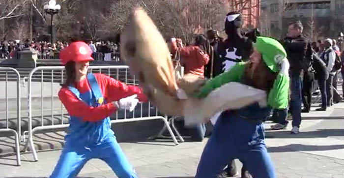 Pillow Fight Day in Washington Square Park