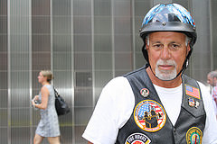 Retired firefighter Robert Helfant, 61, of Virginia Beach, Va. Helfant rode in his first 9/11 commemorative ride Thursday morning. Photo credit: Stacey Kilpatrick