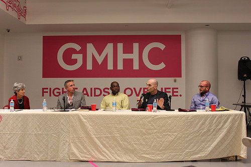 Panelists at the Gay Men's Health Crisis forum on Aging with HIV. From Left: Judith Rabkin, Perry Halkitis, Kevin Oree, Jim Eigo, Jim Albaugh Photo Credit: Megan Jamerson