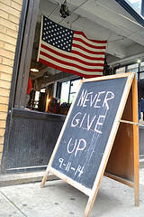 A sign outside of Trinity Boxing Club NYC at 110 Greenwich Street, NY on September 11, 2014. Photo credit: Christina Dun