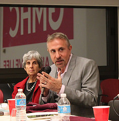 Perry Halkitis moderates the Gay Men's Health Crisis forum on aging with HIV Photo Credit: Megan Jamerson