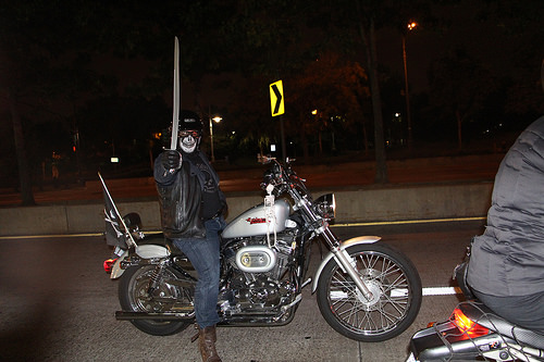 The 21st century biker-pirate, Juan Camacho, on the West Side Highway. Photo by Maria Panskaya