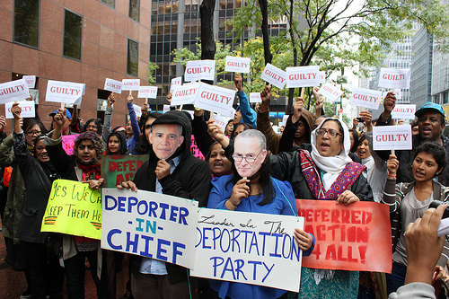 Demonstrators from DRUM gathered to call for immigration reform in front of Senator Chuck Schumer's Midtown Manhattan office. (Photo credit: Megan Jamerson)