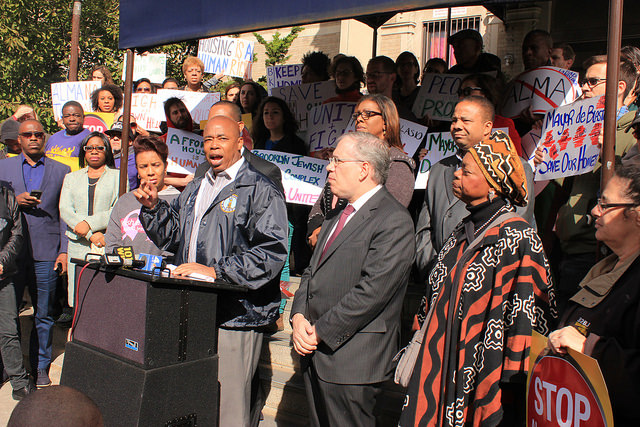 Brooklyn borough president Eric Adams is demanding affordable housing for Brooklynites.