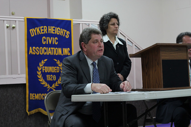 Assemblyman Alec Brook-Krasny at a debate in Dyker Heights. Photo by Bailey Wolff