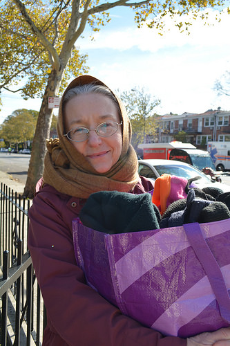NYC Marathon: Collecting discarded running clothes in Bay Ridge