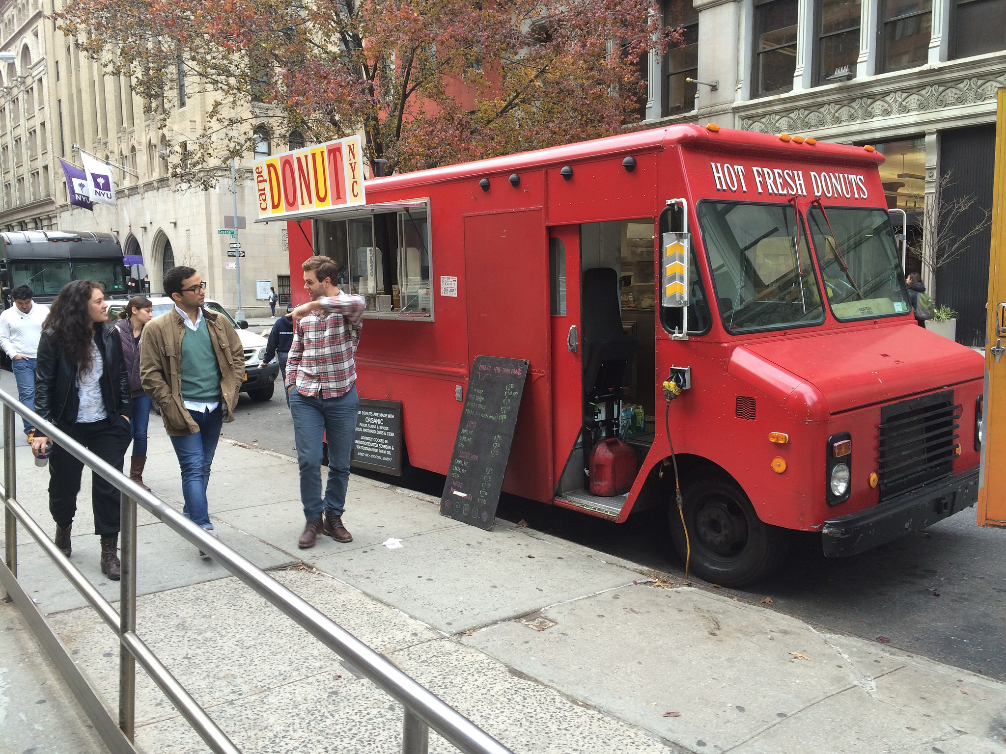 Organic donut truck in the city