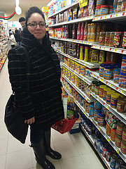 Bonnie Class of Greenpoint, Brooklyn stocks up essentials before Juno hits. Photo by Neil Giardino.