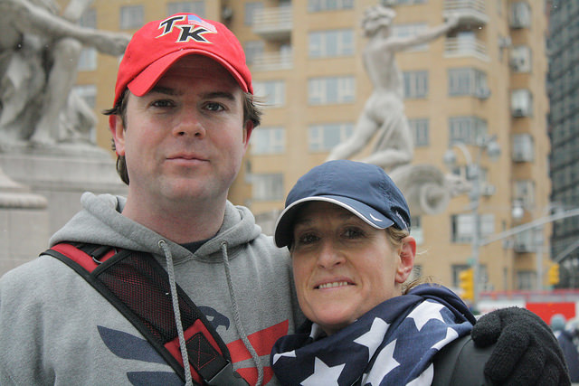 "Joe Quinn and Gena Rosselli-Geller, Athletic Director of Team Red, White & Blue, after the ""Run As One"" 5k run/walk on March 28, 2015. Photo by Stacey Kilpatrick"