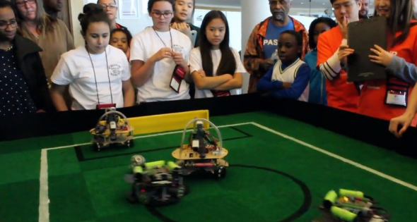 All girls robotics soccer team has big science goals