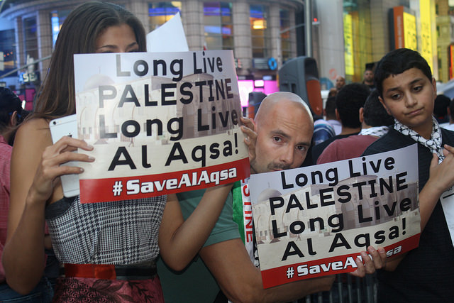 Palestinian anger over Al Aqsa Mosque heard in Times Square