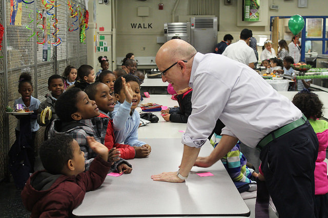 Former White House Executive Pastry Chef Bill Yosses attends the harvest lunch at Public School 55 in the South Bronx to chat with students about healthy food. By Elizabeth Arakelian