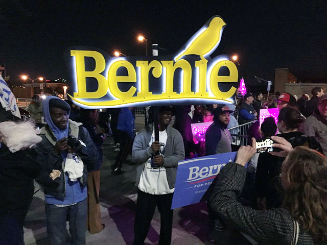 NYC Primary: Colorful Sanders supporters rally at Navy Yard before debate