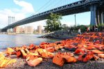 Life jackets symbolize the plight of refugees in Brooklyn display