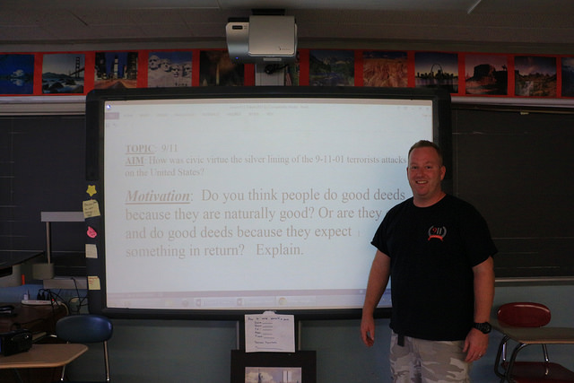 Michael Scherer, 38, social studies teacher at Franklin Delano Roosevelt High School in Bensonhurst, has been teaching 9/11 to his students for five years. Photo by Julie Liao.