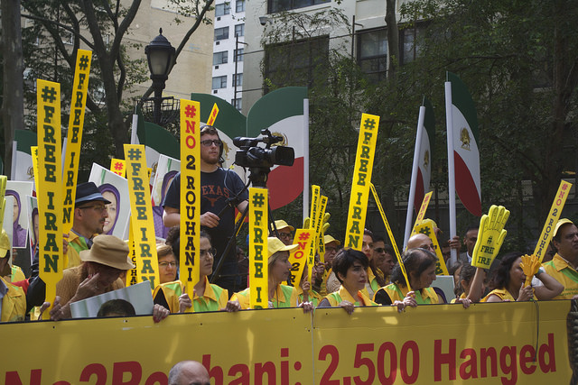 Thousands of protesters gathered at the Dag Hammarskjold plaza across the street from the United Nations to express their anger with Rouhani's government and the United Nations inviting him. - Photo by Lisa Setyon