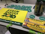 Bumper stickers, fliers, pins and other campaign paraphernalia lay on a table in the lobby of the Hostos Community College arts center in the South Bronx during a Jill Stein rally yesterday. Around 150 people rallied in support of the Green Party at the college's arts center where Stein pitched herself as an alternative to the Republican and Democratic candidates for the presidency. Photo by Razi Syed.