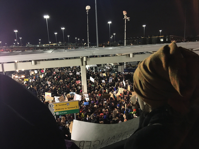 Immigrants join protest at JFK