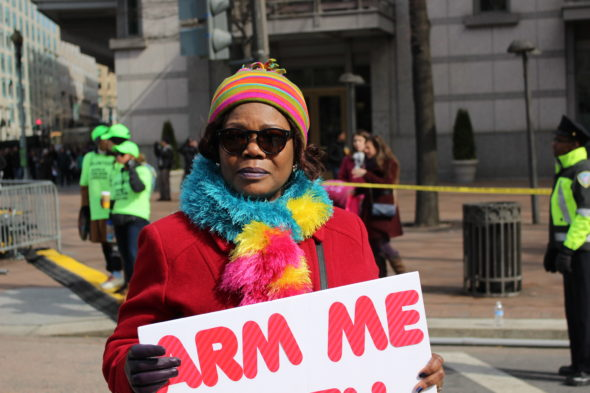 A third grade teacher a Barnard Elementary School in protests at the March for Our Lives in Washington, D.C.