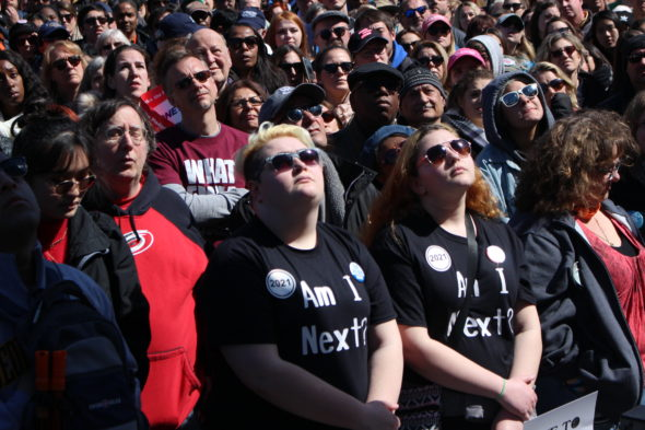 The crowd watches speakers and performers at March for Our Lives in Washington, D.C.
