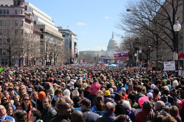 A wide shot of the crowd with the Capitol in the background at March for Our Lives in Washington, D.C.
